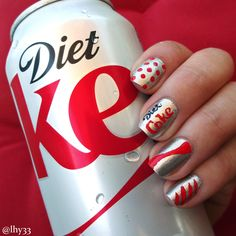 """Diet Coke Nails. Used Butter London """"Diamond Geezer"""" with red and black acrylic paint. #nailart via @lacqueredlawyer"""