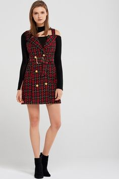 Joy Overall Tweed Mini Dress With Belt Discover the latest fashion trends online at storets.com #fashion #overalldress #tweedminidress #belted #minidresses #storetsonme