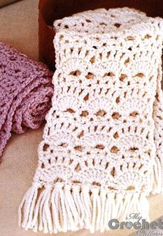 crochet lace scarf in white and purple .There are diagrams and a written pattern for this lace scarf.very pretty! scarf pattern Crochet openwork scarfves for women Crochet Scarf Diagram, Crochet Lace Scarf, Crochet Shawls And Wraps, Crochet Stitches Patterns, Crochet Beanie, Crochet Scarves, Crochet Baby, Free Crochet, Stitch Patterns