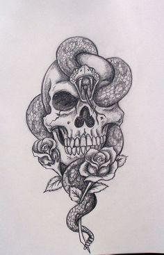 💀🥀🐍 Tatto Skull, Skull Tattoo Design, Skull Art, Tattoo Arm, Skull Rose Tattoos, Pretty Skull Tattoos, Skull Design, Skull Thigh Tattoos, Thigh Piece Tattoos