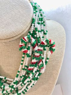 Repurposed Multi Strand Bib Multi Red Green White Candy Canes Enamel Brooch Upcycled Altered Statement Wedding Art Deco Necklace Doodaba Art Deco Necklace, Seed Bead Necklace, Seed Beads, Valentines For Boys, Vintage Valentines, Christmas Necklace, Tote Bags Handmade, Art Deco Wedding, Purple Lilac