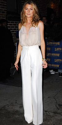 Ellen Pompeo | Sheer and White, High Waist Trousers