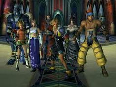 Yuna and her guardians about to whoop some evil booty. From left: Kimahri, Rikku, Yuna, Auron, Tidus, Lulu, and Wakka. Final Fantasy X