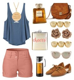 """""""Chill Day"""" by bebe-gawddess ❤ liked on Polyvore featuring LE3NO, RVCA, Gabriella Rocha, Rachel Jackson, Effy Jewelry, Chanel, Jimmy Choo, Bodum and Neiman Marcus"""