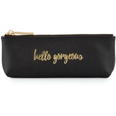 Neiman Marcus Hello Gorgeous Pencil Case ($15) ❤ liked on Polyvore featuring home, home decor, office accessories, black, black pencil case, zipper pencil case, black pencil pouch, zipper pencil pouch and zip pencil case