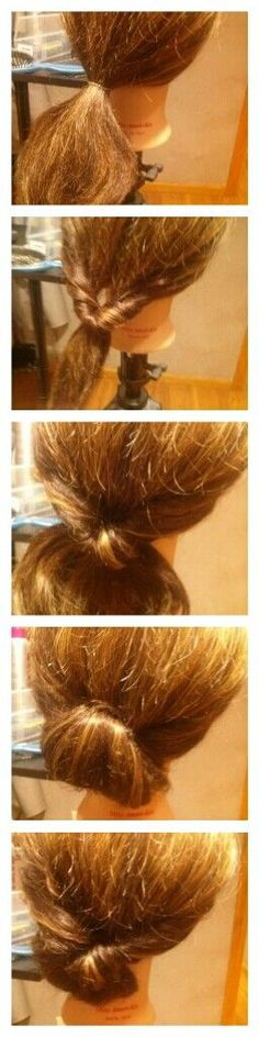 Small hair tie+two bobby pins! ponytail Easy quick bun t Quick Bun, Pretty Hairstyles, Easy Hairstyles, Hair Tuck, Hair Flip, Homecoming Hairstyles, New Hair, Ponytail, Bobby Pins