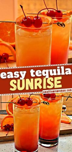 25 reviews · 3 minutes · Serves 1 · A quick and easy game day drink that is sure to impress! You don't have to be a professional bartender to make Tequila Sunrise. In under 3 minutes, you can have a refreshing cocktail that you can also… More Easy Cocktails, Cocktail Drinks, Fun Drinks, Yummy Drinks, Cocktail Recipes, Beverages, Cocktail Ideas, Mixed Drinks, Easy Alcoholic Drinks