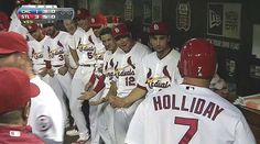 The guys all unzipped their flies to congratulate Matty on the homer he hit with his fly open!