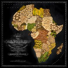 The continent of Africa is fashioned from bananas and plantains. Fun and Beautiful Maps of the World Made From Signature Regional Foods