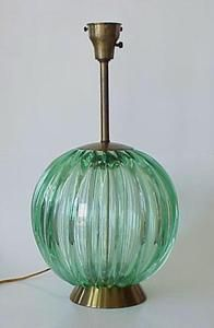 """A beautiful vintage 1950s large Barovier Toso Italy Murano glass lamp.  Wonderful large handblown heavy translucent glass sculpture that illuminates light through in beautiful colors of green. Gold metal top and stem to switch. Lamp is in excellent condition, no cracks, chips or scratches.  Glass is very clean, no clouding.  Has white glass to mount shade on.  26"""" tall with white glass diffuser.  21"""" tall without.  11 1/2"""" in diameter.  Glass 11"""" tall.  $1900"""