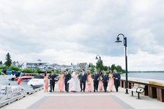 Donna Morgan Peach Fuzz wedding // Nautical peach wedding // Wedding party photos // Photo by Els Photography