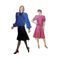 "Womens Pullover Top and Flared Skirt Sewing Pattern Misses Size 10 Waist 25"" Uncut Vintage 1980's Vogue 8859"