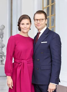Crown Princess Victoria and Prince Daniel of Sweden, official portrait released in March 2016 after the birth of their son Prince Oscar.