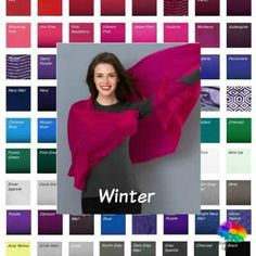 Winter fabric color swatch  #Winter coloring #color swatch #color analysis http://www.style-yourself-confident.com/winter-swatch.html