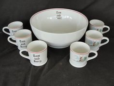 Vintage W. S. George 7 Piece Tom & Jerry Punch Bowl Set Eggnog Windmill by marketsquareus on Etsy