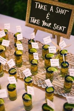 Tequila Shot with a lime Escort Cards // wedding, seating chart, summer