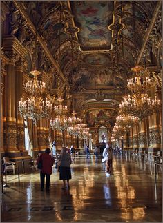 Grand Opera House interior, Paris, France; This place can seat 1,979 people, and was built from 1861 to 1875. Thinking about it makes me giddy! <3