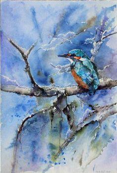 Winteraquarelle von Hanka & Frank Koebsch in der Galerie Severina | Eisvogel (c) Aquarell von Hanka Koebsch #Aquarell #Winter #Eisvogel