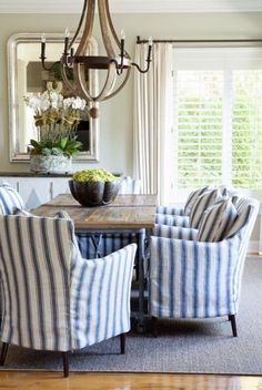 Saved from Lavender Hill Interiors. I love the fabric on the chairs. Gives a relaxed feel in the dining room