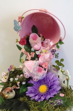 This adorable one oder Ähnlicheskind baby girl shower centerpiece gives an allusion that, the bucket is floating in mid air and is dropping all kinds. Cup And Saucer Crafts, Floating Tea Cup, Teacup Crafts, Baby Girl Items, Diy Baby Gifts, Baby Shower Centerpieces, Deco Table, Xmas Ornaments, Handmade Home Decor