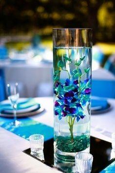 wedding flower arrangements. Blue Orchids.