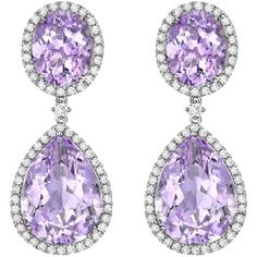 Lavender Amethyst Pear and Oval Drop Earrings (€4.210) ❤ liked on Polyvore featuring jewelry, earrings, lavender jewelry, drop earrings, amethyst drop earrings, amethyst jewellery and pear earrings