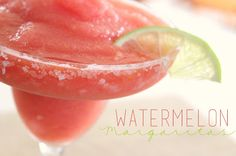 Frozen Watermelon Margaritas are summer in a glass!!  We will definitely be making these over and over again, totally the perfect warm weather drink! @allrecipes