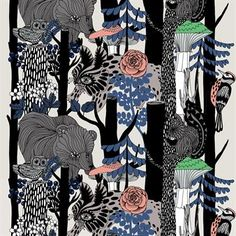 The Veljekset fabric by Marimekko features and enchanting pattern design by Maija Louekari. The pattern was designed in celebration of 100 years of Finnish independence, and was inspired by the Nordic fauna and flora. The fabric can be used for anything from curtains and pillow cases to table cloths.