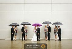 I want to do this, bridal party with grey umbrellas and us with purple