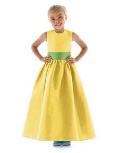 #flowergirl #yellow #wedding This dress but instead of a green belt a white belt.