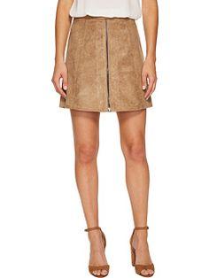 Bishop + Young Suede Zip-Up A-line Skirt