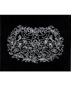 2d25114aaf89 Tableau motif russe, oiseaux fleurs coeur, blanc sur fond noir, peint à l