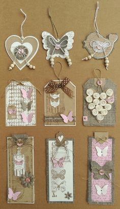 Made with: linen, kraft, white & a touch of pinkT T button hearttags and bookmarkstime consuming but lovely!Home Decor and Craft ideas Card Tags, Gift Tags, Handmade Tags, Candy Cards, Pocket Letters, Paper Tags, Scrapbook Embellishments, Tag Art, Paper Flowers