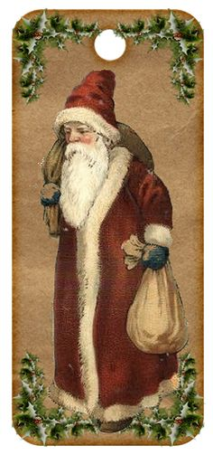 Father Christmas in a gentler time. Father Christmas, Primitive Christmas, Christmas Gift Tags, Christmas Art, Christmas Mantles, Christmas Villages, White Christmas, Xmas, Christmas Ornaments