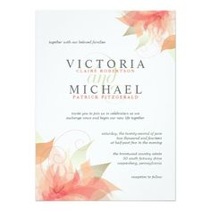 Orange Peach Floral Wedding Invitations