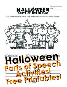 Squarehead Teachers: Halloween parts of speech activity for kids. Free printable worksheet! - repinned by @PediaStaff – Please Visit ht.ly/63sNt for all our ped therapy, school psych, school nursing & special ed pin