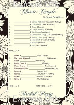Wedding, Bridal Party, Hen's Night, Bachelorette Game Activity. Famous couples fun girls night out Black Floral