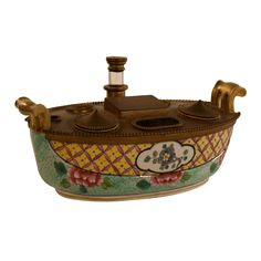 French Porcelain  and Bronze Inkwell 19th century