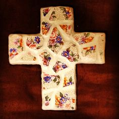 Clay tile mosaic cross w/ white clay made by me