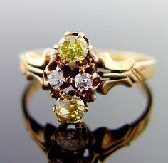 Antique Fancy Yellow Diamond Cushion Old Mine Engagement Ring 1858 $7 715 00 NR   eBay