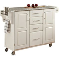 Home Styles Kitchen Cart - White with Salt and Pepper Granite Top - $470