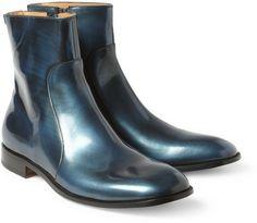 Maison Martin Margiela Metallic-Leather Ankle Boots