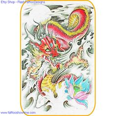 Dragon Tattoo Flash Design 6 for you on Etsy. Top quality high resolution color design, with tattoo stencil outline. Instant download only $1.95. Get the body art you deserve. Many other designs.