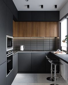 Selection for a modern and refined kitchen - HomeDBS Small Modern Kitchens, Modern Kitchen Interiors, Luxury Kitchen Design, Kitchen Room Design, Modern Kitchen Cabinets, Kitchen Cabinet Design, Home Decor Kitchen, Interior Design Kitchen, Home Kitchens