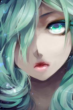 closeup vocaloid hatsune miku lips long hair green eyes green hair curly hair anime girls faces hai Wallpaper