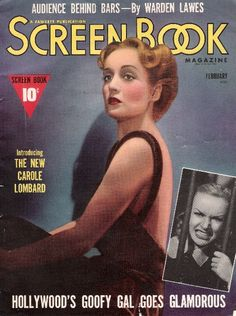 """Carole Lombard on the front cover of """"Screen Book Magazine"""", USA, February 1939."""