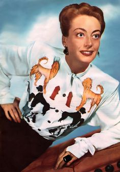 Really, Joan? Dogs  fire hydrants? vintage fashion style joan crawford portrait movie star icon rayon novelty print blouse poodle white black tan 40s hair skirt