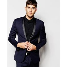 ASOS Skinny Tuxedo Suit Jacket In Navy ($154) ❤ liked on Polyvore featuring men's fashion, men's clothing, men's suits, navy, tall mens clothing, mens tuxedo suits, mens navy suit, mens skinny fit suits and mens 3 button suits