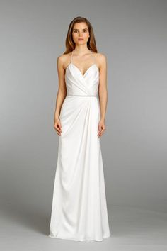 Sexy and simple - love the sweetheart neckline and a-line fit of this satin gown | Jim Hjelm