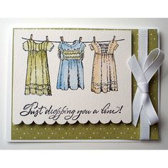 Card made by Mary Puskar using Serendipity Stamps Three Dresses Cling Set.